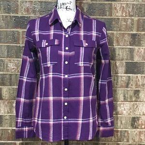 EUC MOSSIMO Purple Plaid Flannel Button Down
